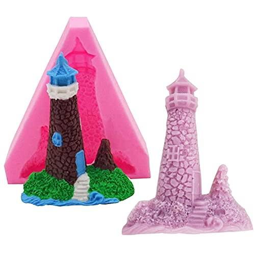 WonderfulC 3D-Silikonformen in Form eines Leuchtturms zum Selbermachen, Schokoladenbacken, Kuchenformen, Seife, Gips, Ton, Backform