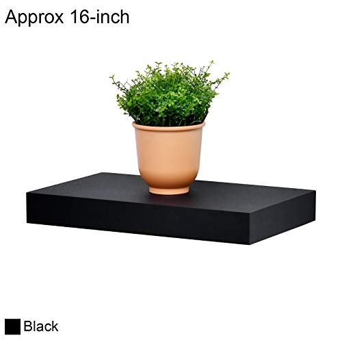 """WELLAND 2"""" Thickness Mission Floating Wall Shelf, 16-inch Length, Black"""