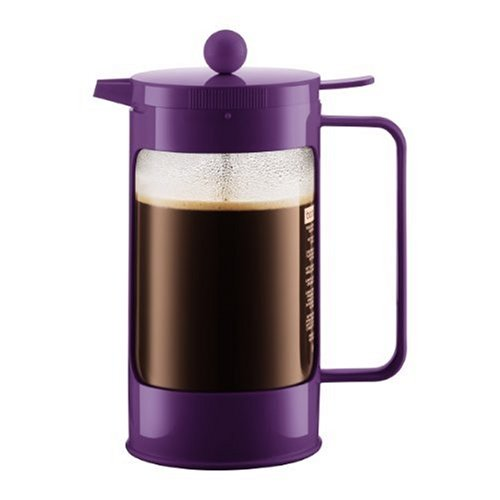 Bodum Bean French Press Coffeemaker with Locking Lever Lid, 8-Cup (34-Ounce), Purple