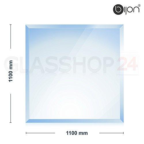 Preisvergleich Produktbild bijon® - 6mm Kamin Glasbodenplatte - Quadrat 1100 x 1100mm - 18mm Facette