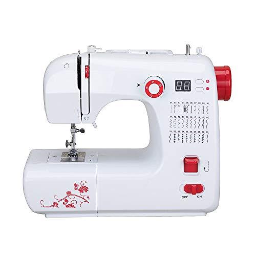 Máquina de coser electrónica, brazo libre con 30 puntadas, brazo libre, costura automática con pedal de pie, mini máquina de coser multifunción 220 V 24 W DIY con pantalla LED