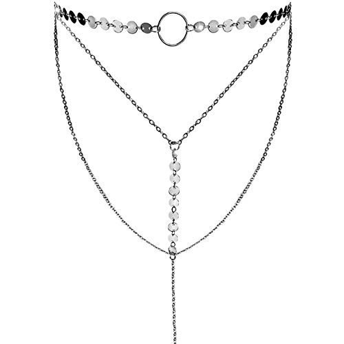 Suyi Stylish Layered Sequins Choker Necklace with Thin Long Chain Pendant for Women Lady Girl A-Silver