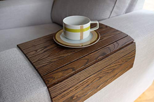 Brown Sofa Side Tray Table - Wood Armrest Tray – Sofa Tray Table - Surface For Coffee/Meals/Laptop - 22.5' x 14'