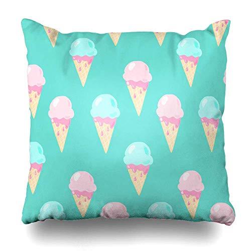 Funda de almohada para postre con diseño de helado, comida y verano, diseño de bayas con cremallera, tamaño cuadrado, 45,7 x 45,7 cm, decoración del hogar