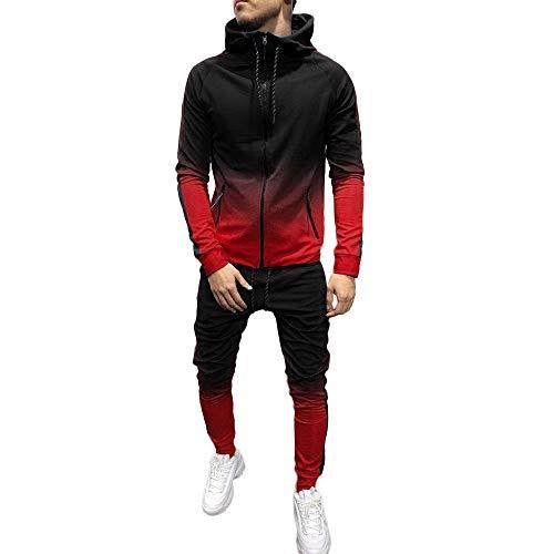 2019 Men's Jogging Tracksuit Sportswear, Men's Activewear Full Zip Gradient Warm Tracksuit Sports Set Casual Sweat Suit Red