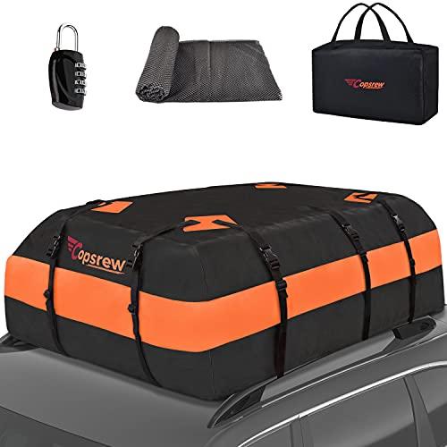 Copsrew 20 Cubic ft Car Roof Bag & Rooftop Cargo Carrier 100% Waterproof Heavy Duty RoofBag. Fits...
