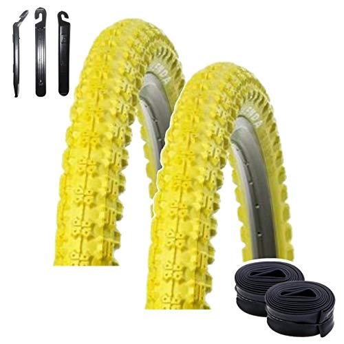 Angebot-Set / 2 x Kenda K-51 Fahrrad BMX - Reifen Mantel Decke Gelb 20 x 2.25 (58-406) + 2 passende Schläuche DV inkl. 3 Reifenheber
