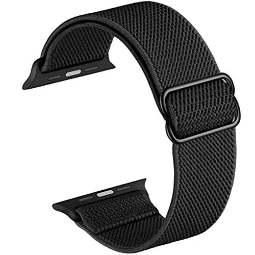Cinturino in nylon elasticizzato compatibile con Apple watch serie SE 1 2 3 4 5 6 cinturino di ricambio regolabile sportivo traspirante per iwatch 38mm 40mm 42mm 44mm unisex (Nero, 38mm/40mm)