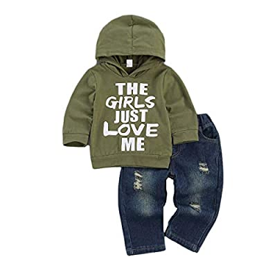 Toddler Baby Boy Outfits Hoodie Sweatshirts & Jeans Clothes Set Fall Winter 6 9 12 18 24 Months (A-Green, 6-12 Months) from fhutpw