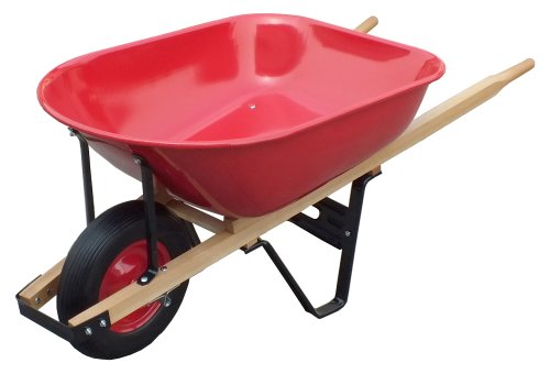 United General WH89982 Heavy Duty Steel Tray Wheelbarrow, 6 Cubic-Feet 18 Gallon