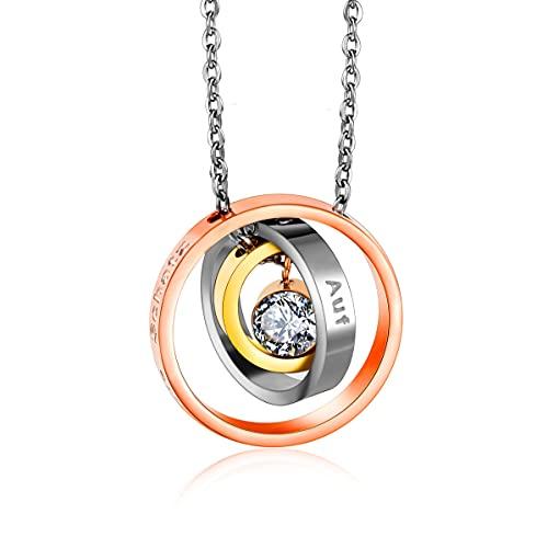 Kim Johanson Collar de acero inoxidable para mujer con texto en alemán 'Ich liebe Dich Mein Schwatz', en plata, oro y oro rosa, regalo para mamá, cristal, cadena ajustable, incluye bolsa de joyería