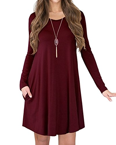 POSESHE Women's Long Sleeve Casual Loose T-Shirt Dress Wine Red M