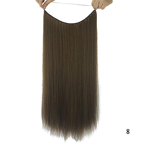 Remeehi Lot de 8 extensions de cheveux synthétiques raides sans clip ni ruban adhésif 28 cm 80 g