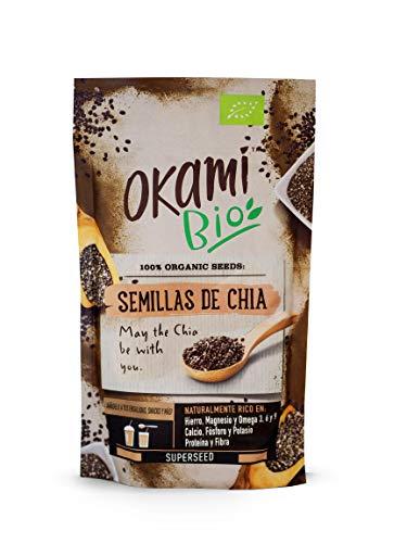Okami Bio | Semillas de Chia | 100% Orgánico | Vegano | Superalimento | Alto contenido de Fibras| Antioxidantes | Proteinas | Para darle el impulso perfecto a tu día | 250gr.