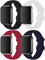 RUOQINI 4 Pack Compatible with Apple Watch Band 38mm 40mm 42mm 44mm,Sport Silicone Soft Replacement Band Compatible for...