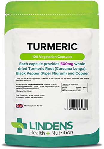 Turmeric Whole Root Extract 500mg 2-Pack 200 Capsules with Black Pepper & Copper Curcumin Rich Curcuma