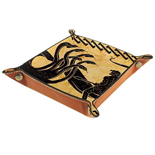 KAMEARI Bandeja de cuero vintage antigua Hercules caza serpiente llave teléfono moneda moneda cuero cuero vaca bandeja práctica caja de almacenamiento