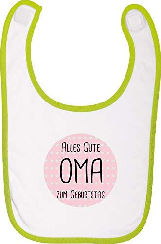 Fetziger Babylatz, Alles Gute zum Geburtstag Oma, Latz Lätzchen Sabberlatz Sprüche Logo Motiv Puller Party, Farbe Lime