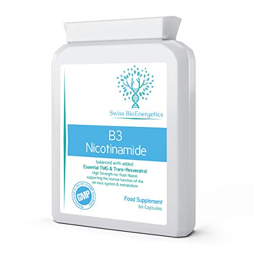 Vitamin B3 Nicotinamide Balanced with Added Essential TMG (Tri-Methyl Glycine) & Trans-Resveratrol - High Strength no-Flush Niacin - Supporting The Normal Function of The Nervous System & Metabolism