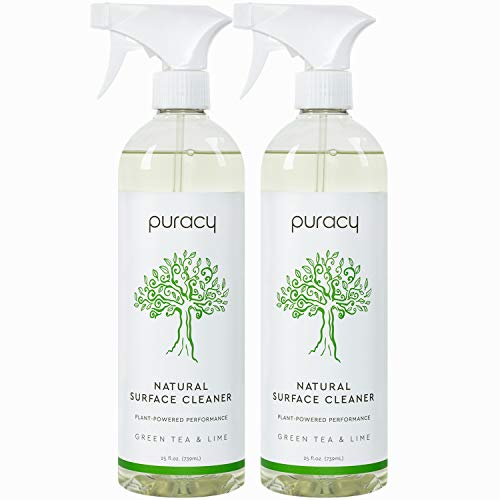 Puracy All Purpose Cleaner, Green Tea & Lime, Streak-Free, Food-Safe Natural Household Multi-Surface Cleaning Spray, 25 Fl Oz (2-Pack)