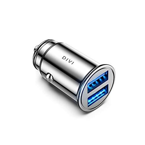 DIVI Auto Ladegerät, Mini Zigarettenanzünder USB Ladegerät 12V/ 24V KFZ Ladegerät 2-Port 24W/ 4.8A mit Aluminium-Legierung Gehäuse für iPhone XR/Xs Max, Samsung Galaxy S8, Huawei Und mehr (Silber)