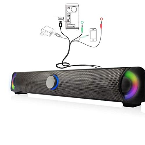 Fantastic Deal! DBGS Computer PC Computer with Speakers Sound Bar with Cable Television, Color LED 7...