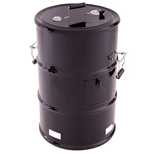 Nexos Grilltonne Grillfass 4 in 1 Feuertonne BBQ-Smoker schwarz Stahl 92 x 57cm Holzkohlegrill Smoker Räucherofen Grill mit Feuerschale