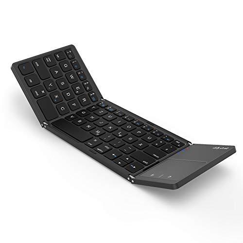 Jelly Comb Faltbare Bluetooth Tastatur, Wiederaufladbare Ultra-Dünne Tastatur mit Touchpad, Deutsches Layout QWERTZ Speziell für MacOS/IOS/IPadOS, Grau