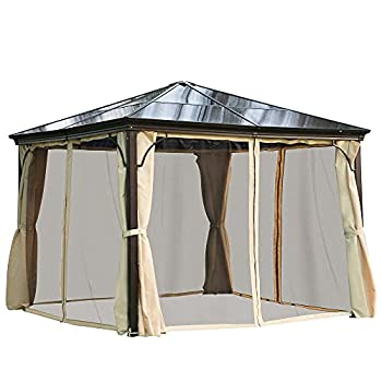 Outsunny 10  x 10  Aluminum Frame Patio Gazebo Canopy with Polycarbonate Hardtop Roof Mesh Net Curtains & Durability