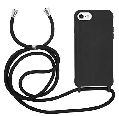 MyGadget Cover con Cordino per Apple iPhone 6   6s   7 8   SE 2020 - Custodia con Collana Case Opaca Antiurto con Laccio Tracolla Practical Stylish Nero