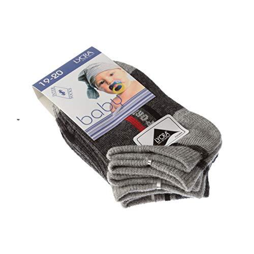 InterSocks Socke Kurzsocken - 3 pack - ohne Frotte - Bunte Ferse - Fine - Coton - Gris - Baby - 19/20
