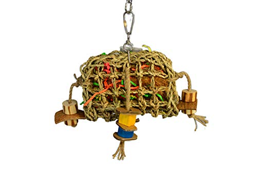 Birds LOVE Small Seagrass Foraging Pouch Toy w Wood Toys on Natural Rope, Forage Hanging Chewing Fun for Conures Cockatoos Cockatiels - 10' x 8'