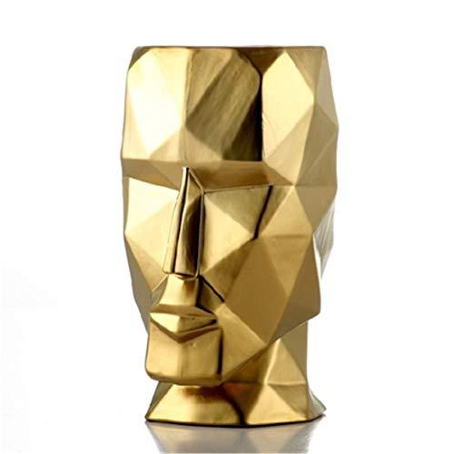 niawmwdt Florero De Cerámica Nórdica Florero Geométrico Origami Abstracto Florero De Cabeza Humana De Oro Arreglo Floral Manualidades Figuras Decoración del Hogarl