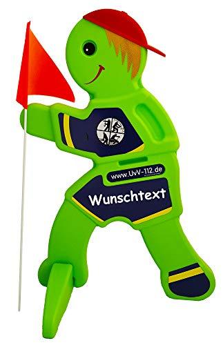 UvV-Feuerwehr 3D Warnschild Achtung spielende Kinder - Kind Schild Warnschild für Spielstraßen Kitas, Spielplätze (Feuerwehr-Wunschtext)
