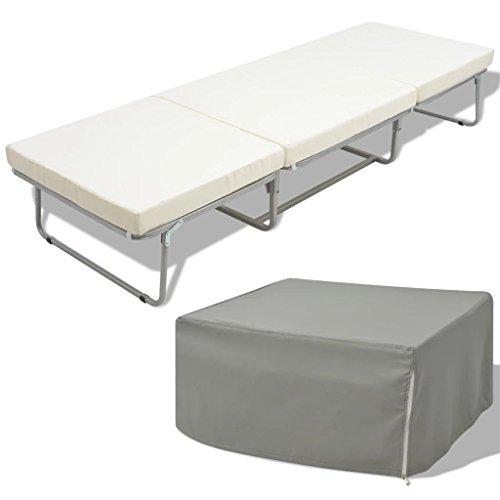 Susany Cama/Taburete Plegable con colchón Acero Blanco 70x200 cm Somier con colchón para Ahorrar Espacio Plegable para huéspedes