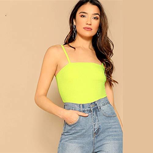 LIULINUIJ Rib-Knit Neon Lime Top StreetwearCorrea Sólido Flaco Sexy CamisVerano Mujeres Casual TopsAjustados