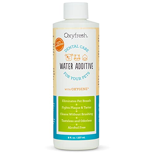 Oxyfresh Premium Pet Dental Care Solution Pet Water Additive: Best Way to Eliminate Bad Dog Breath and Cat Breath – Fights Tartar and Plaque – So Easy, just add to Water! Vet Recommended! 8 oz.