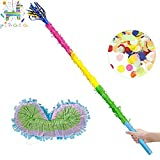 30.6' Pinata Stick with Blindfold Confetti Set for Pinata Kids Birthday Anniversary Celebration Decorations Gaming Theme Pet Party Fiesta Supply