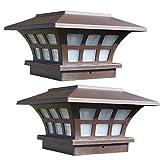 SODIAL Paquete de 2 Luces Solares para Poste Luces de Tapa Impermeables para Exteriores para Postes de Madera o Vinilo Luces LED para Cubierta