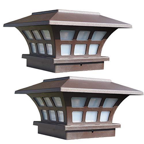 SODIAL 2 Pack Solar Pfosten Beleuchtet Wasserdichte Kappen Lichter im Freien für H?Lzerne oder Vinyl Pfosten Plattform LED Lichter