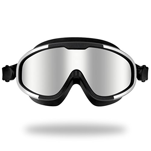 Pansonite Swimming Goggles, 100% Waterproof Wide View No Leaking Swim Goggles with Anti Fog UV Protection Lenses, Comfortably Fit for Women Men Adult Youth Kids (red)