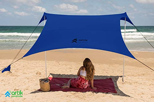 Pop Up Beach Tent Sun Shade for Camping Trips, Fishing, Backyard Fun or Picnics – Portable Canopy with Sandbag Anchors, Two Aluminum Poles & Carrying Bag - UPF50 UV Protection (Violet, Medium)