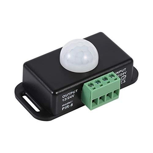 HAOX Interruptor Detector de Sensor PIR de plástico de 12 V / 24 V, Interruptor de Sensor de Movimiento automático de Seguridad, para Uso de luz LED con módulo de Sensor de lámpara incandescente