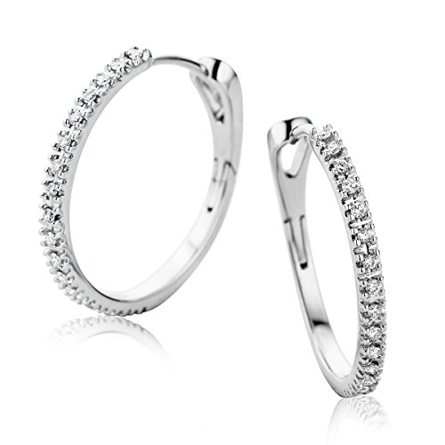 Orovi Pendientes Señora aros en Oro Blanco con Diamantes Talla Brillante 0.19 ct Oro 9 Kt / 375