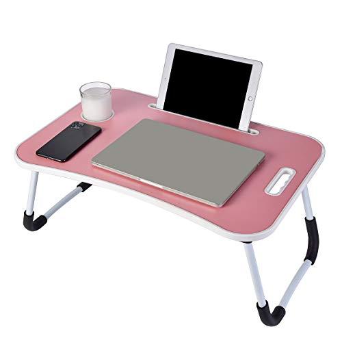 Escritorio portátil para portátil, bandeja para portátil, soporte para lectura, sofá, mesa de cama con asa para leer libros, comer, trabajar, escribir, jugar, dibujar (rosa)