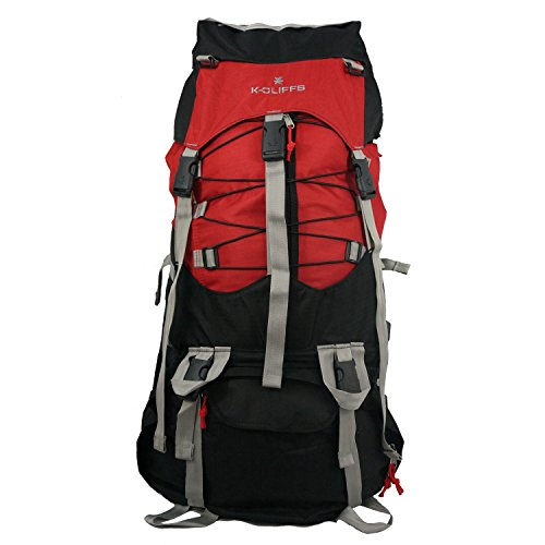K-Cliffs Hiking Internal Frame Camping Backpack Scout Daypack Outdoor Mountain Travel Bag with Rain Cover, Large, Red