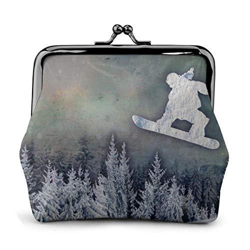Die Snowboarder Münztasche Lederwechsel Geldbörse Kuss Verschluss Schloss Mini Kosmetik Make-up Taschen für Frauen und Mädchen