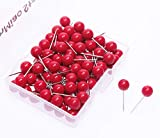AnMiao Star 100pcs Map Tacks Push Pins 1/4 Inch Diameter Plastic Round Head and Steel Needle Points,Used for Marking Variety DIY Craft Office and Home on Map,Bulletin Board or Cork Boards (Red)