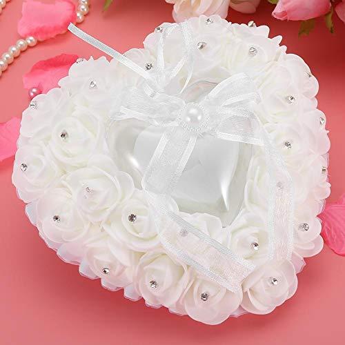 Oumefar Custodia per Anello Romantica a Forma di Cuore Cuscino per FEDI Nuziali con Portatore di Anello Leggero Design Compatto Romantico per la Decorazione della Festa Nuziale(White)