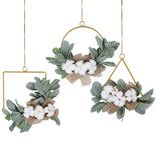 Pauwer Cotton Bolls Floral Hoop Wreath Set of 3 Farmhouse Gold Metal Ring Hoop Wreath with Artificial Flocked Lamb Ear Greenery Leaves Wedding Backdrop Wall Decor